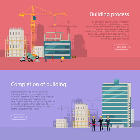 completion: Building Process. Completion of Building. Illustration