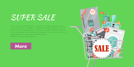 Super Sale Banner. Household Appliances in Trolley Illustration