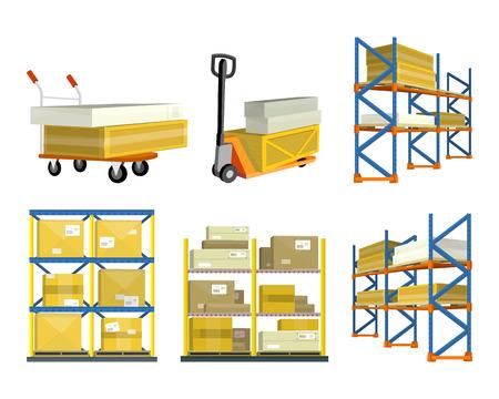 Set of Warehouse Elements Vektorové ilustrace