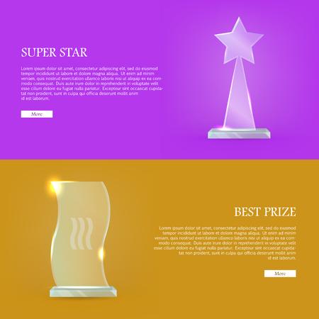 Set of Glass Awards Trophy Rewards Web Banner Illustration