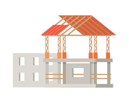 Building Construction Process of Cottage House.