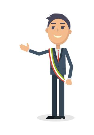 Il sindaco dei caratteri di stile piatto Illustrazione Vettoriali