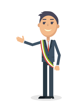 Mayor Character Flat Style Illustration Vectores