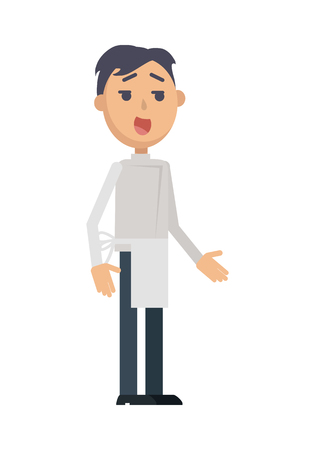 Waiter or Cook Character Flat Style Icon Illustration