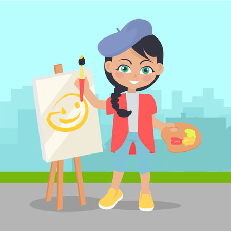 people having fun: Girl Drawing on Easel on Landscape of Urban City Illustration
