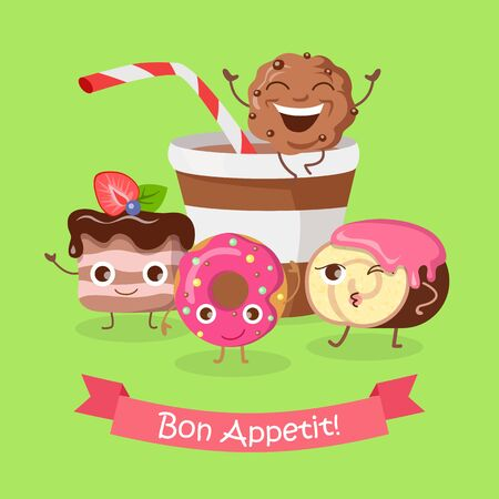 ready cooked: Bon Appetit. Funny Cartoon Characters Banner.