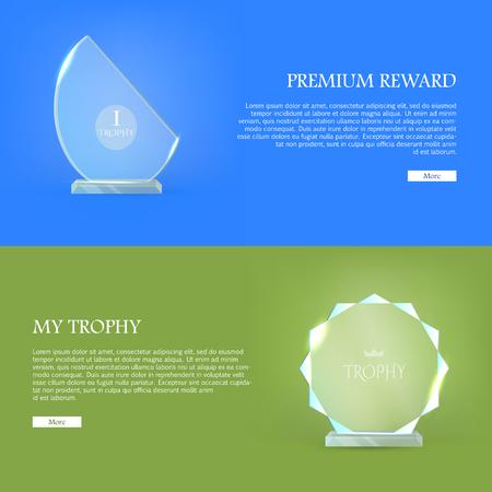 won: Premium Reward. My Trophy. Triumph Glass Award Illustration
