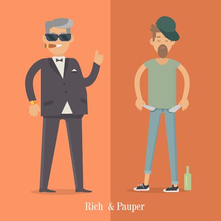 Rijke en Pauper Men. Sociaal vlak. Human Poster Stock Illustratie