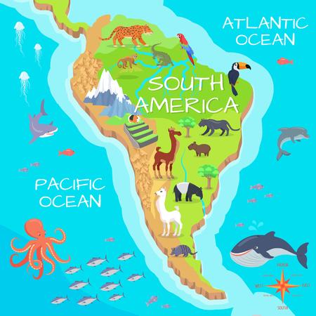Amérique du Sud Mainland Cartoon Faune Espèces Banque d'images - 70227307