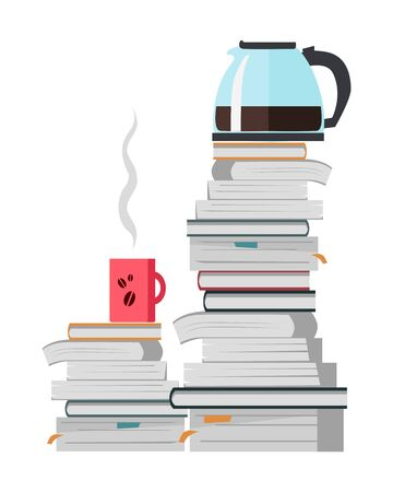 offee Pot and Cup of Coffee on the Heap of Books