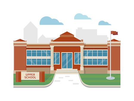 Best School Building in Flat Style Design Illustration
