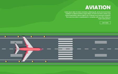air plane: Aviation. Aircraft. Runway. Flight. Banner