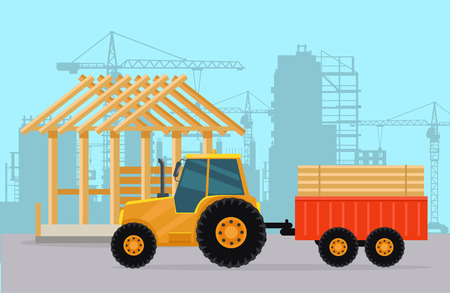 agrimotor: Tractor. Construction. Process of Building House.