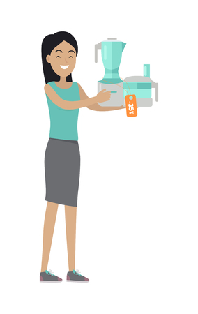 Woman Buys Food Processor on Sale at Low Price Illustration