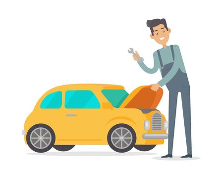 Man Repair Car. Auto Mechanic Isolated on White Illustration