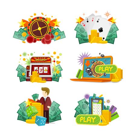 roulette online: Casino Gambling Icons Set Illustration