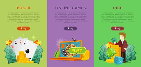 Pocker, Online Games, Dice Casino Banners Set. Illustration