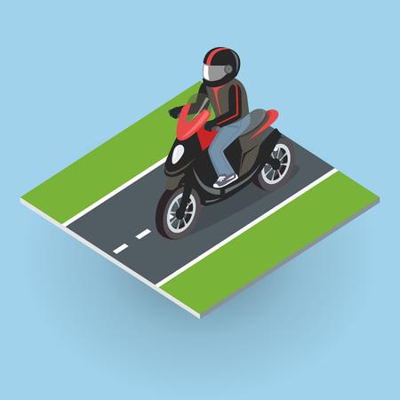 motorizado: Motor Bike en el camino. Vista superior