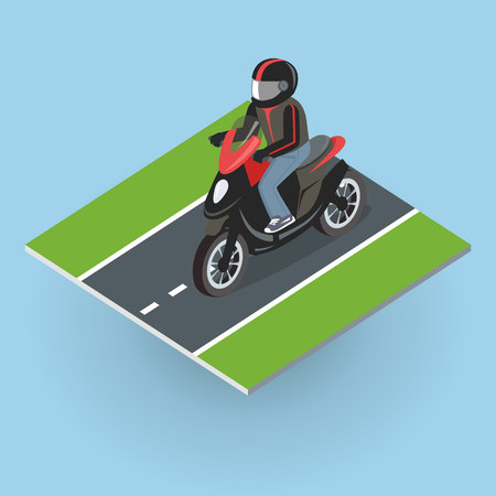 Motor Bike on the Road. Top View