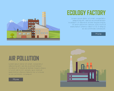 power plant: Ecology Factory and Air Pollution Plant Banners.