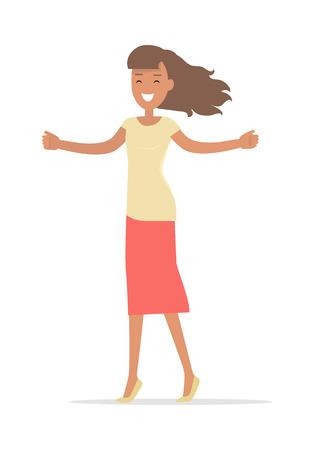 Mujer de compras aislada en blanco. Señora con los brazos abiertos sonriendo. Diseño plano. Personaje de niña Brunet en camiseta y falda rosa. Placer de compra. Para ventas y descuentos. Ilustración vectorial