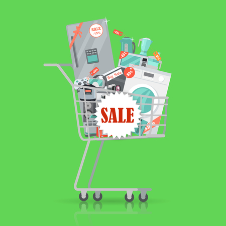 Super sale banner. Household appliances in trolley flat style. Illustration for electronics stores advertising. Purchase of equipment for every day use. Devices in cart with red discount tags. Vector Illustration