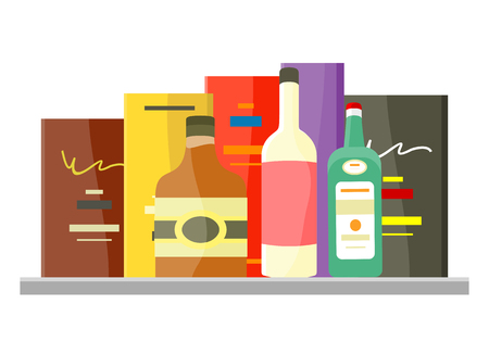 plugged: Drinks Alcohol Vector Concept in Flat Design. Illustration
