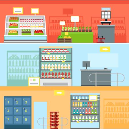 supermarket shelf: Supermarket Interior Design Illustration