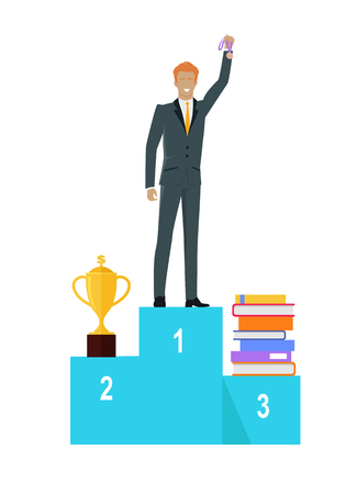 Person Standing on Winners Podium. Vector