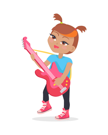 leisure time: Girl playing on guitar isolated on white. Adorable little girl has leisure time. Young singer at music lesson. Toddler at playground play on musical instrument in flat style. Daily activity. Vector
