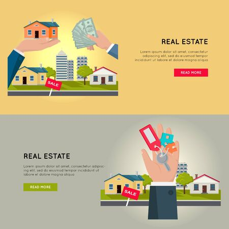 Set of Real Estate Vector Web Banners. Ilustrace