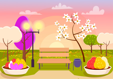 Spring Scenery. Urban Park with Bench, Flower Beds Illustration