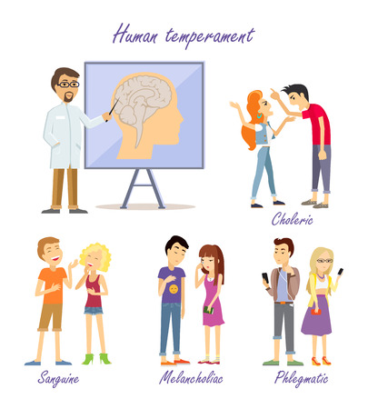 choleric: Human Temperament Personality Types. Scientist Illustration