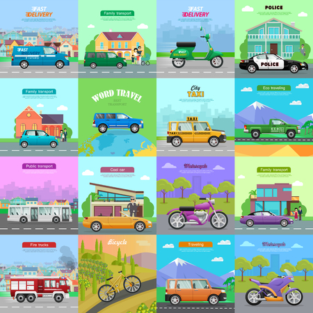 means of transportation: Different means of transportation. Set of diverse auto models icons. Flat design. Speed vehicles. Police car, automobile, truck, bicycle, motorcycle, bus, trolleybus fire truck cabriolet Vector