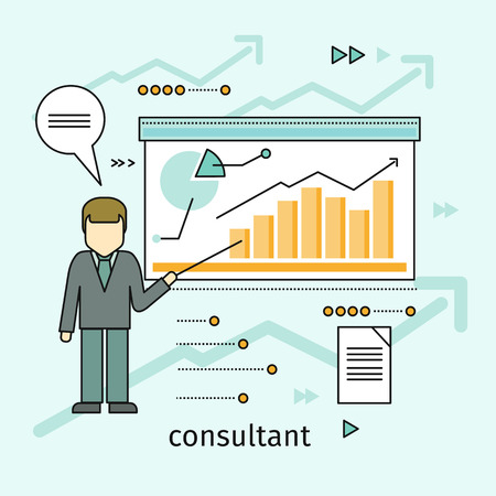congress: Business Consultant Vector Concept in Flat Design Stock Photo