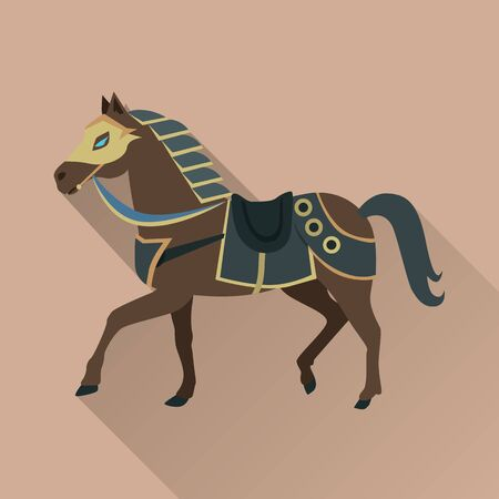 Brown Horse in Gold Collar. Isolated Avatar Icon Иллюстрация