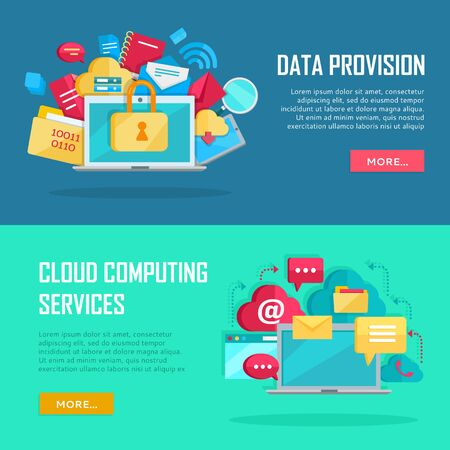 provision: Data Provision, Cloud Computing Services Banners Illustration