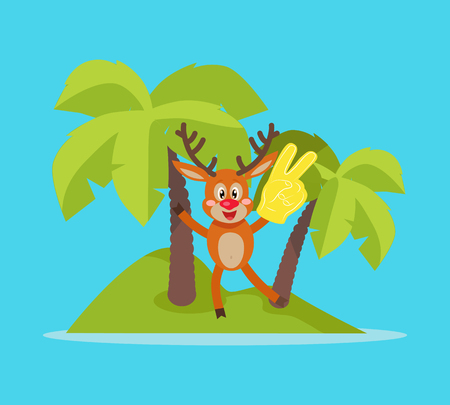 sport fan: Vacation on Tropic Island Cartoon Vector Concept