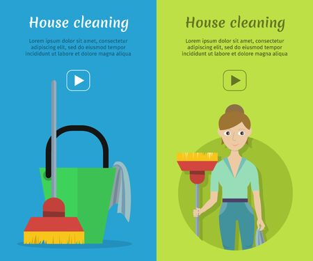 cleanliness: Set of Cleaning Service Flat Style Web Banners Stock Photo