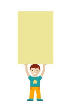 message board: Cute Boy Character Holding Blank Message Board Illustration