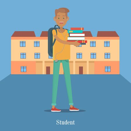 adult intercourse: Student Stand with Book on Background of College