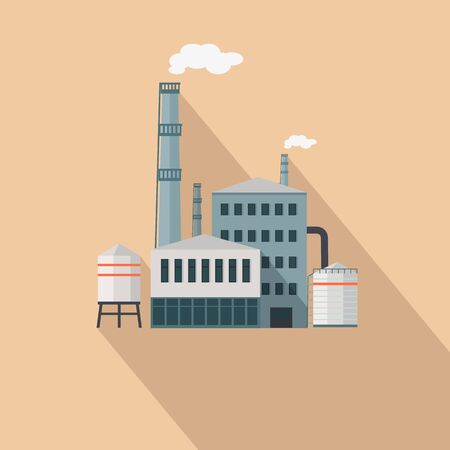 manufactory: Factory with Long Shadow in Flat Style. Manufacturer