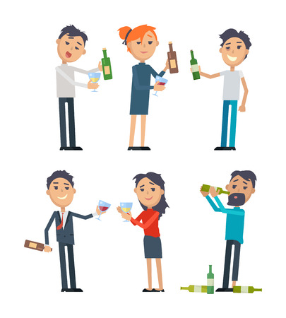 Drunk People with Alcohol Flat Vectors Set Stock Photo