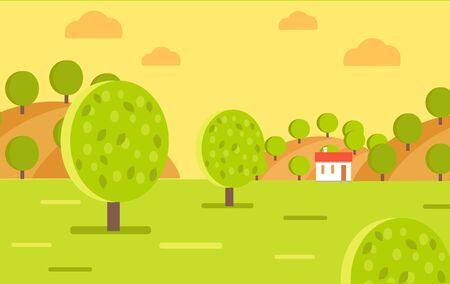 Village Garden or Fruit Farm Landscape Vector Stock Photo
