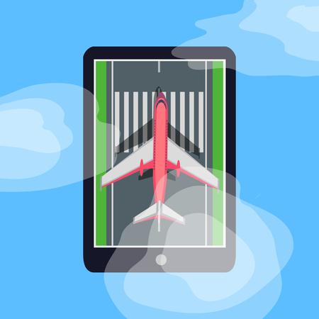 Airplane on Runway in Smartphone. Blue Sky. Cloud