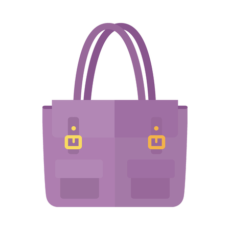 Ladies handbag in flat style. Female bag isolated. Ilustração