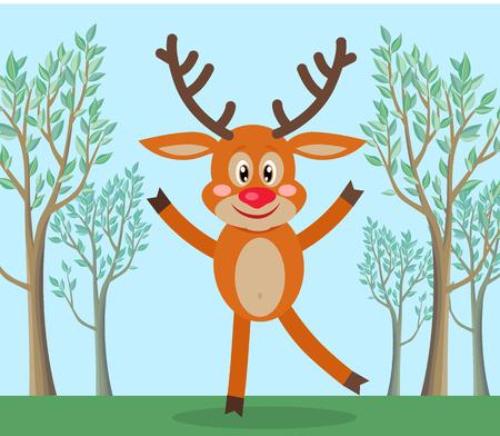 Cute Deer in Forest Cartoon Flat Vector