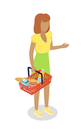 Woman with Cart Purchases in Flat Design. Vector Vectores