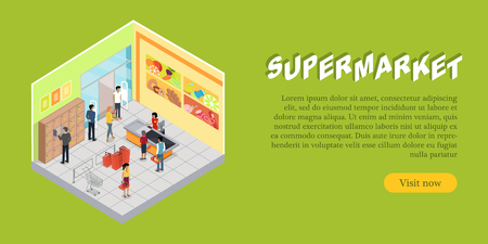 Supermarket Interior in Isometric web Banner Illustration