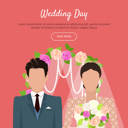 wedding day: Wedding Day Web Banner. Newlyweds Couple Design